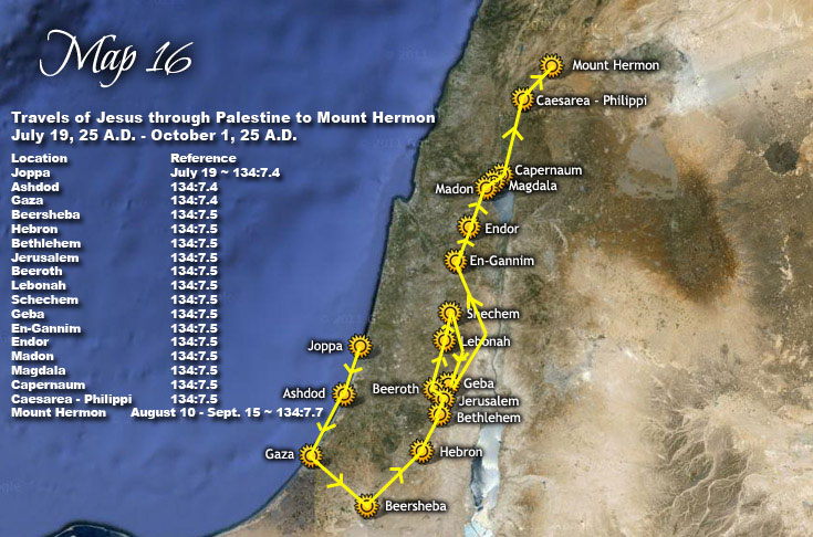 Map Of Jesus Travels Travels of Jesus through Palestine to Mount Hermon   July 19, 25  Map Of Jesus Travels